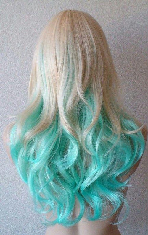 blue green blonde two tone hair