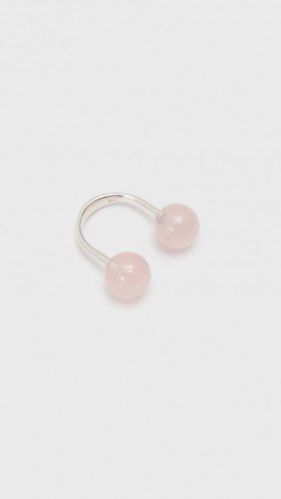 Saskia Diez Sling Ring in Rose Quartz | The Dreslyn