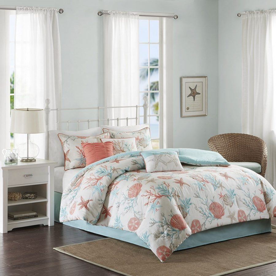 Coral Teal Seashells Comforter Set Bed In A Bag Beach Themed Bedding In 2019 Bedding Sets Kids Bedding Sets Comforter Sets