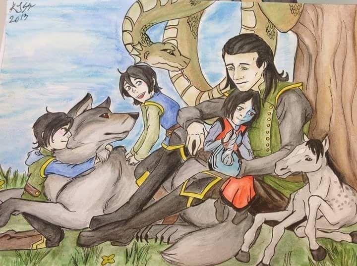 ~~Loki & his children, Narvi, Fenrir, Vali, Jormungandr ... Lokis Children Norse Mythology