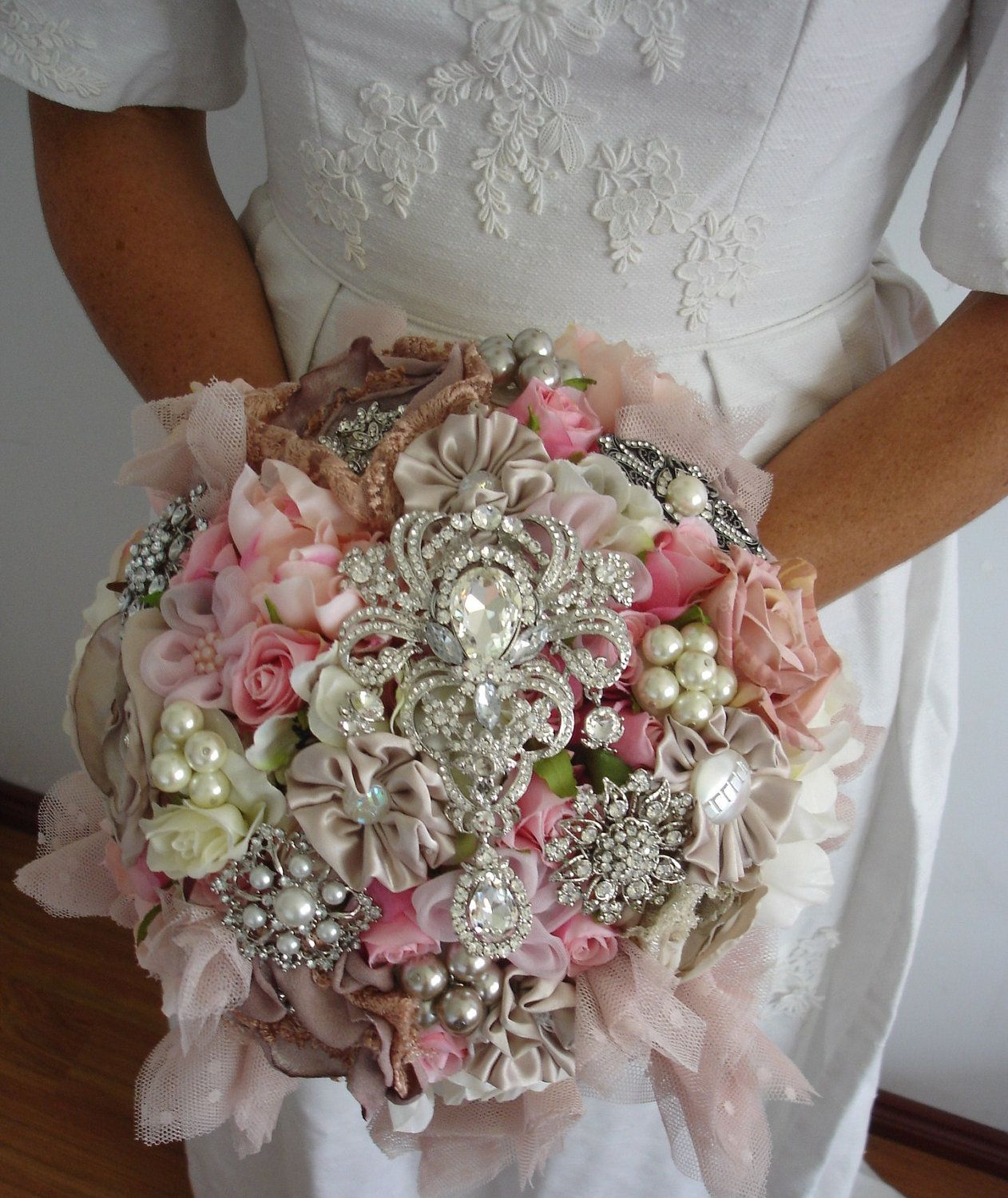Wedding bouquets not flowers  The Lillybuds Cottage Glamour Wedding Bouquet I just like the