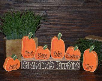 Thanksgiving Block Set Personalized Halloween Block Set Mantle Decor Shelf Decor…