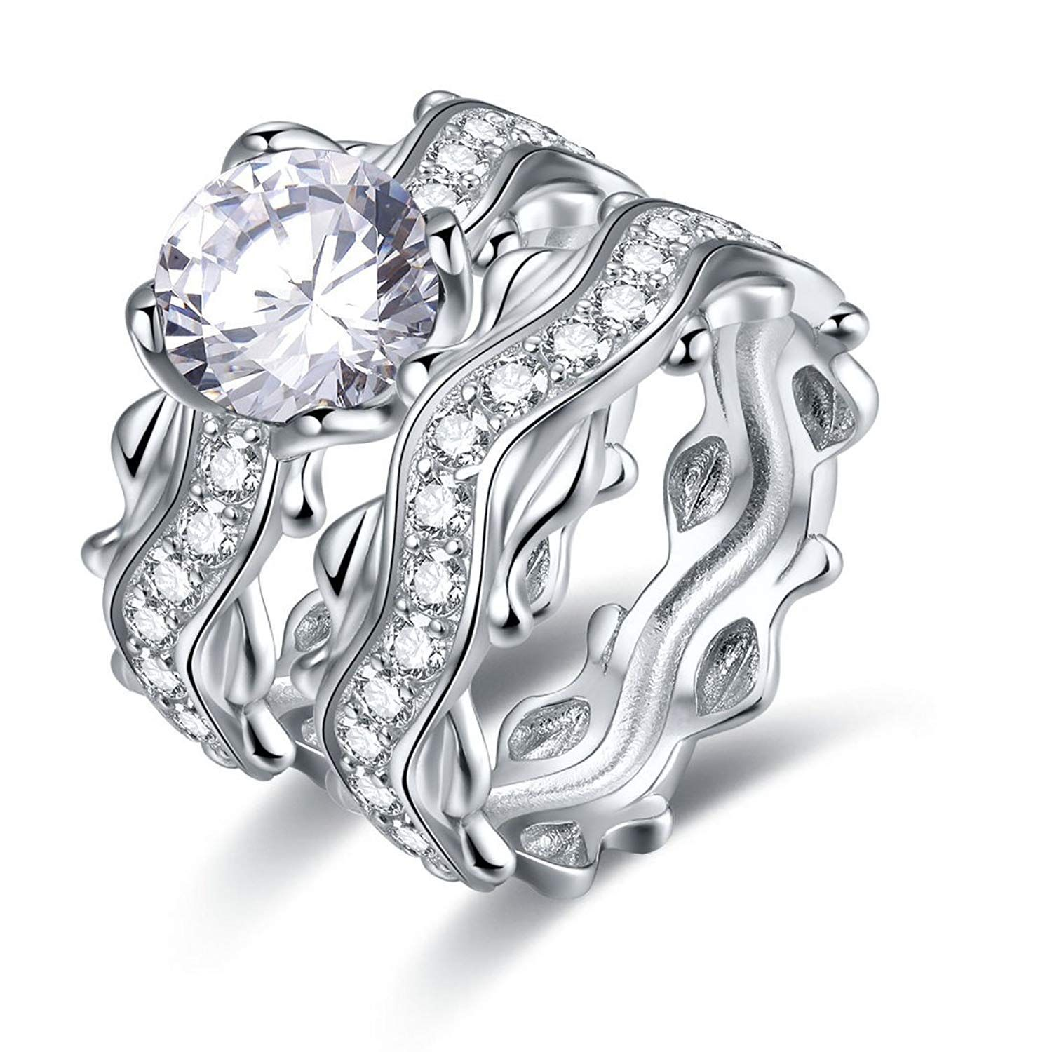 Jrose 925 Sterling Silver Cubic Zirconia Engagement Ring