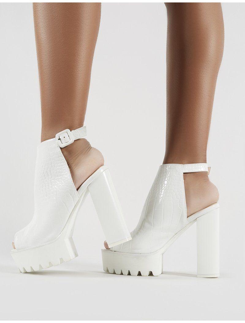 24ce288a398 Jada Cleated Platform Block Heels in White Croc in 2019 | Moda ...