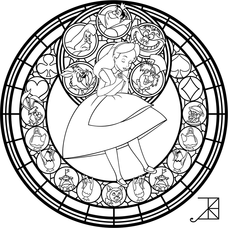 Alice Stained Glass Redo Line Art By Akili Amethyst Disney Stained Glass Disney Coloring Pages Coloring Pages