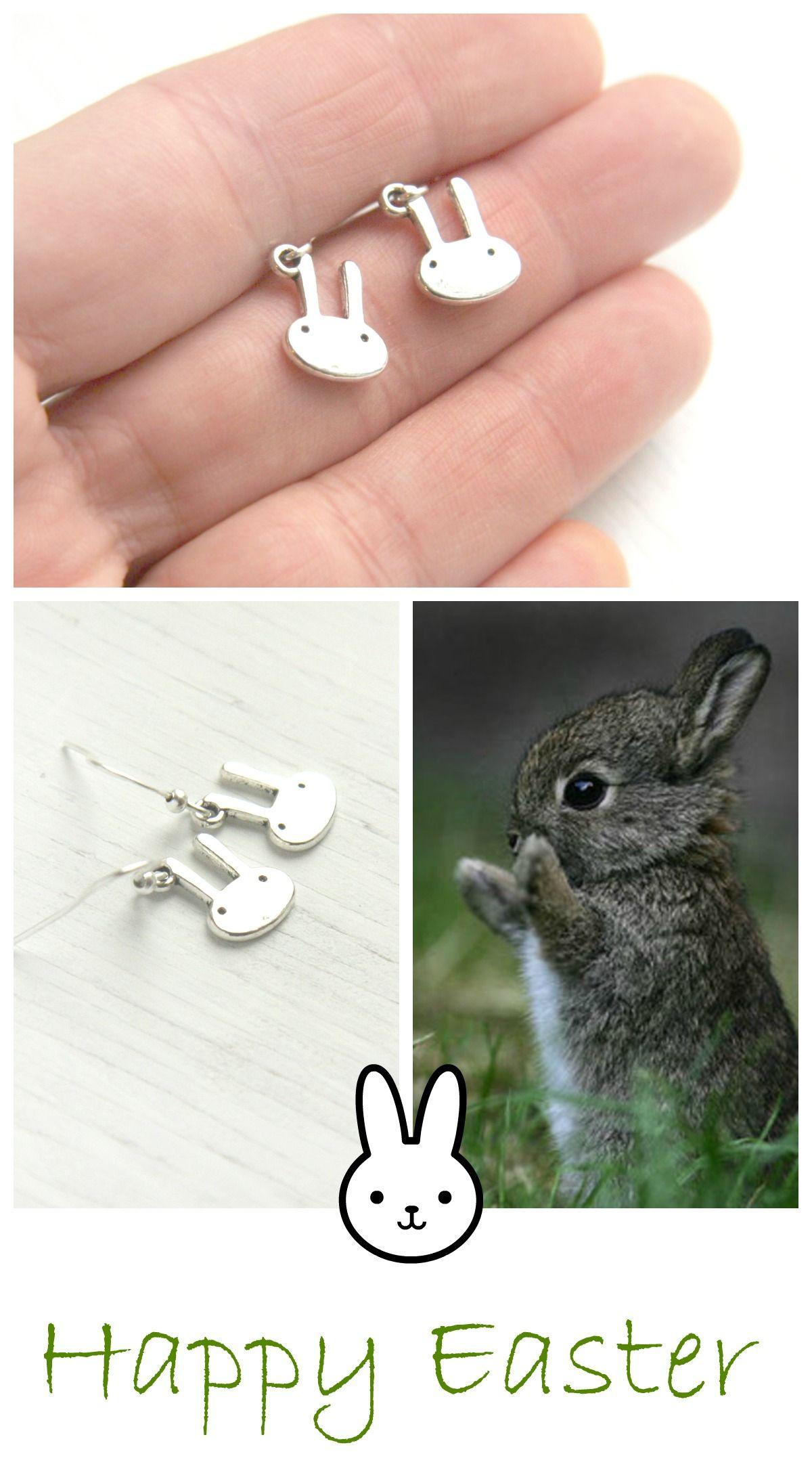 #Cute #Miniature #Bunny #Rabbit - Sterling Silver Dangle Earrings - Tiny, Minimalist Earrings,simple, everyday jewelry #Easter