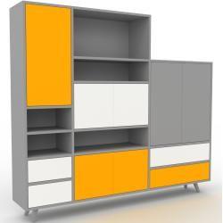 Photo of Regalsystem Grau – Regalsystem: Schubladen in Weiß & Türen in Gelb – Hochwertige Materialien – 190 x