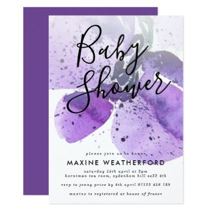 Violet watercolor orchid baby shower invitation shower invitations violet watercolor orchid baby shower invitation shower invitations violets and orchid negle Choice Image