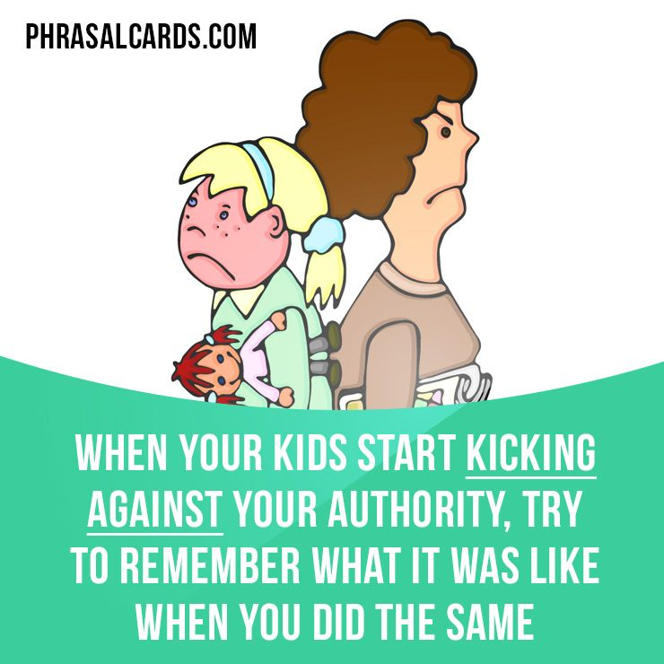 """""""Kick against"""" means """"to react against someone"""". Example: When your kids start kicking against your authority, try to remember what it was like when you did the same. Get our apps for learning English: learzing.com"""