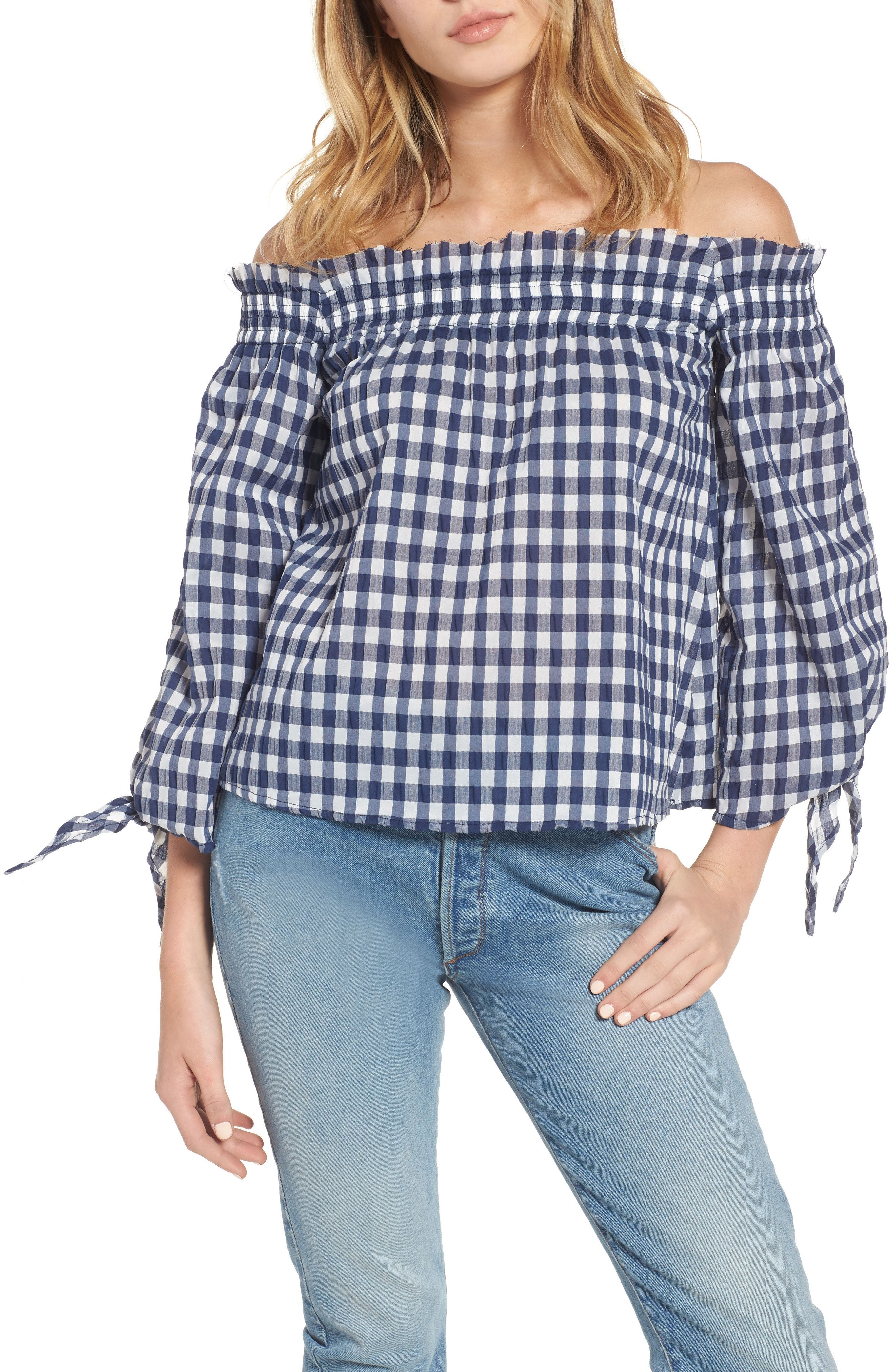 1c71044b84fef New McGuire Pina Gingham Off the Shoulder Top OLIVE MOSS fashion online.    240  new offer from Newoffershop