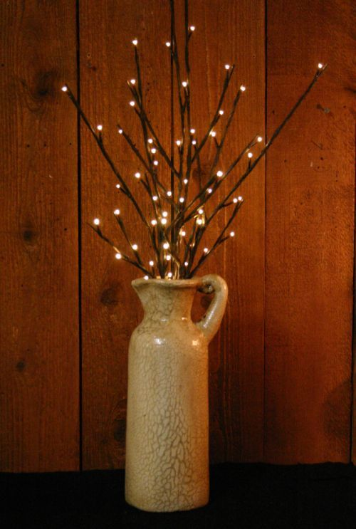 Battery operated willow twig and carafe vase Little House in the Big Woods Pinterest ...
