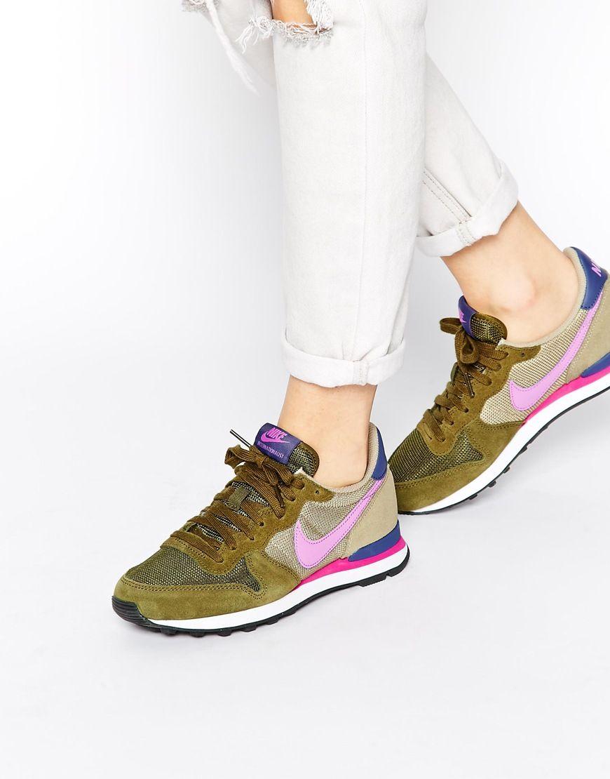 reputable site 3f5b0 aa4da Nike+Internationalist+Olive+Trainers