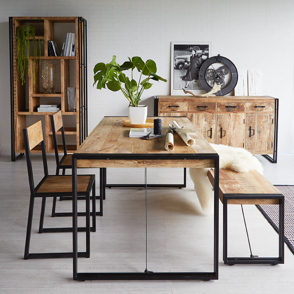 Mango Wood Metal Wood Dining Table Large In 2020 Unique