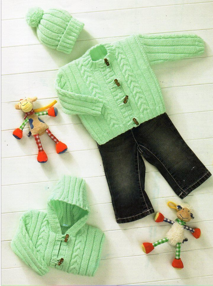 baby knitting pattern pdf cardigan hooded jacket hat cable rib 12-22 ...