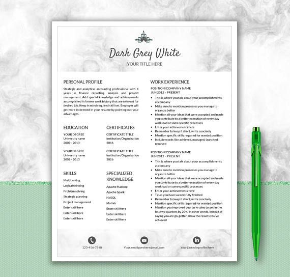 Professional Resume Template Cover Letter Design Creative - other words for resume