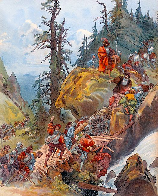 Image result for Francis I crosses the Alps