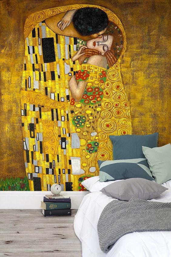 The Kiss Gustav Klimt Wallpaper Mural   MuralsWallpaper   Pinterest ...