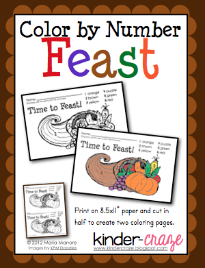 Color By Number Thanksgiving Feast From Kinder Craze On TeachersNotebook