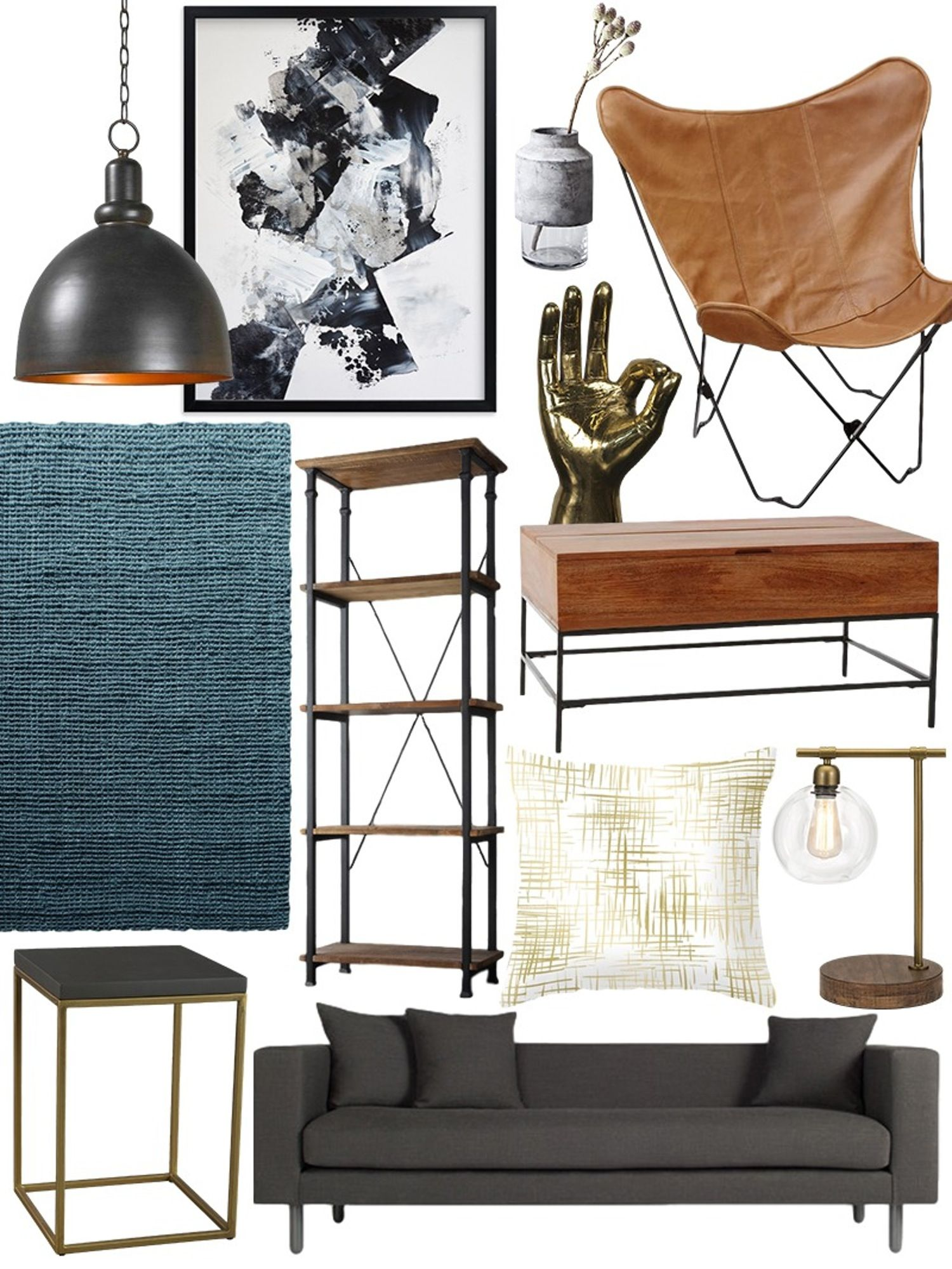 remarkable vintage industrial living room | Create the Look: Warm Industrial Living Room Shopping ...