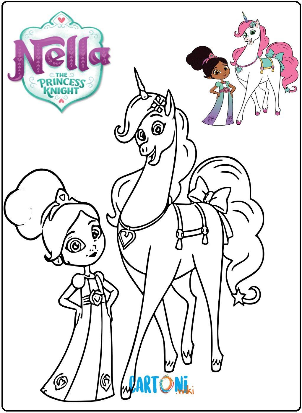 Colora Nella La Principessa Coraggiosa Insieme Al Suo Cavallo E