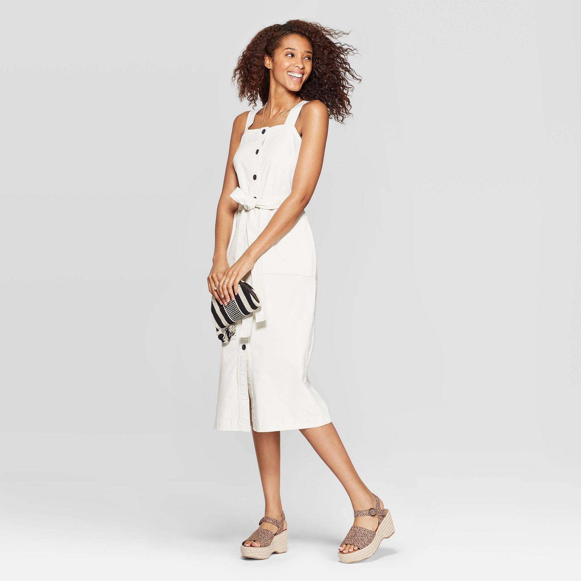 Women S Sleeveless Square Neck Midi Button Front Belted Dress Universal Thread White S Snowball White Belted Midi Dress Belted Dress Midi Dress Sleeveless [ 2000 x 2000 Pixel ]