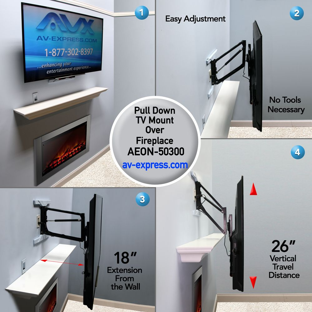 Pull Down Tv Mount For Fireplace Aeon 50300 Wall Mounted Tv