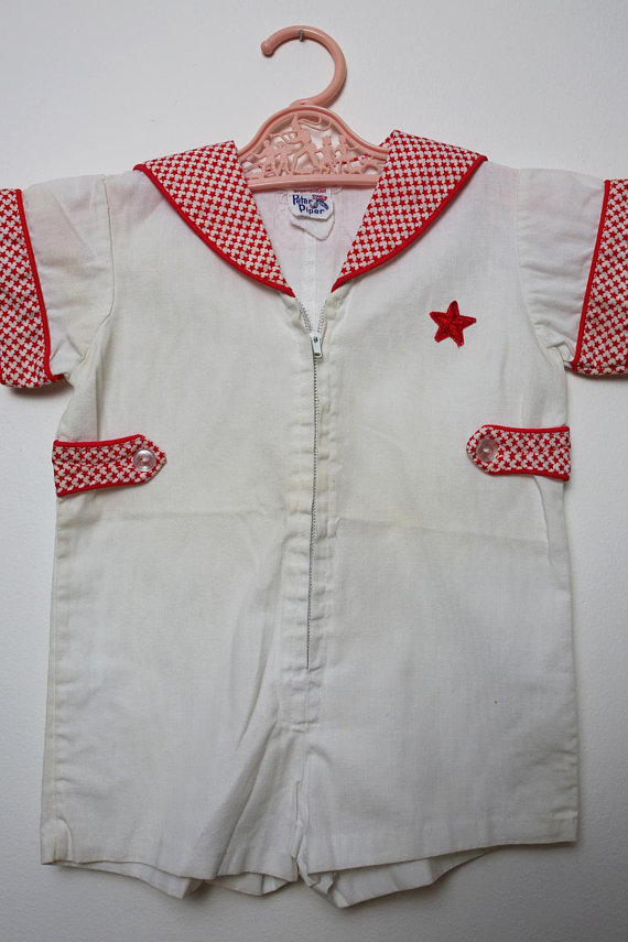 67f2a083a425 CHILD SIZE - Rock   Roll Vintage 70s Red and White Stars Jumpsuit Romper  Playsuit for Kids