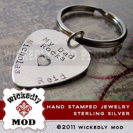 Mens Gift  Personalized Guitar Pick  Hand by wickedlymodpendants, $42.00