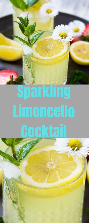 Sparkling Limoncello Cocktail #drink #limoncellococktails Sparkling Limoncello Cocktail #drink #limoncellococktails