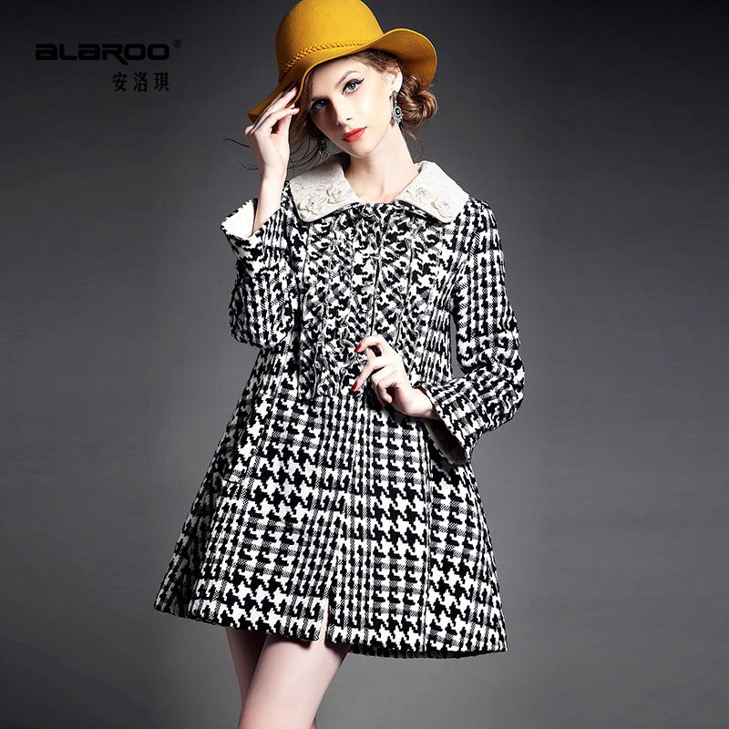 2014 new winter dress Lapel bead embroidery crimp the thickened long sleeved jacket
