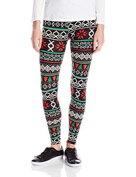 481a0da0793d73 Derek Heart Junior's Brushed Ugly Christmas Printed Legging, Red Tree, ...