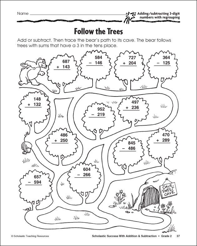 3 Digit Subtraction With Regrouping Coloring Sheet Math