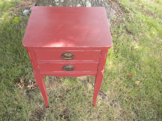 Vintage End Table Primer Red Chalk Paint by repurposedstyle, $119.25