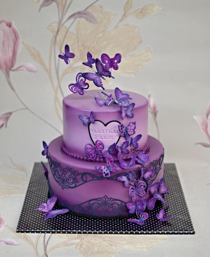 Deep purple butterflies cake by majalaska butterfly