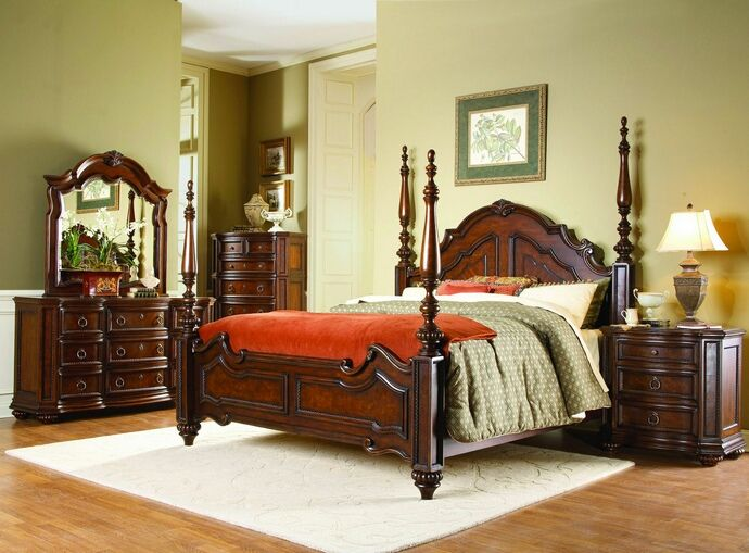 HE-1390-5PC 5 pc Prenzo collection cherry finish wood carved accents