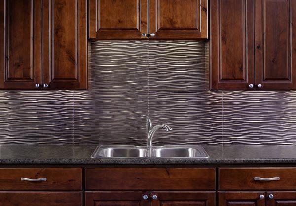 Kitchen Backsplash Waves In Brushed Nickel Diy Backsplash Rustic Backsplash Metallic Backsplash