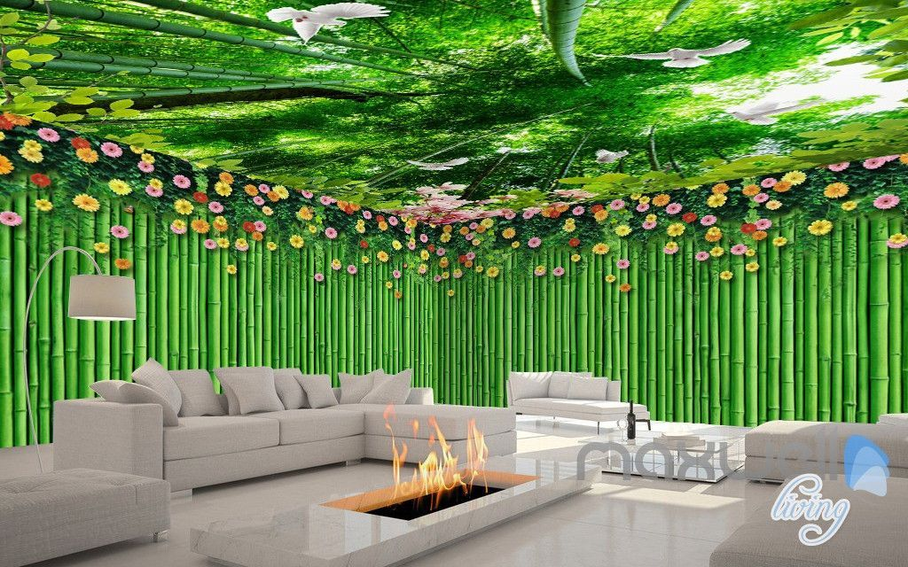 3D Bamboo Wall Flower Top Ceiling Entire Living Room Wallpaper Wall Mural  Art IDCQW 000182