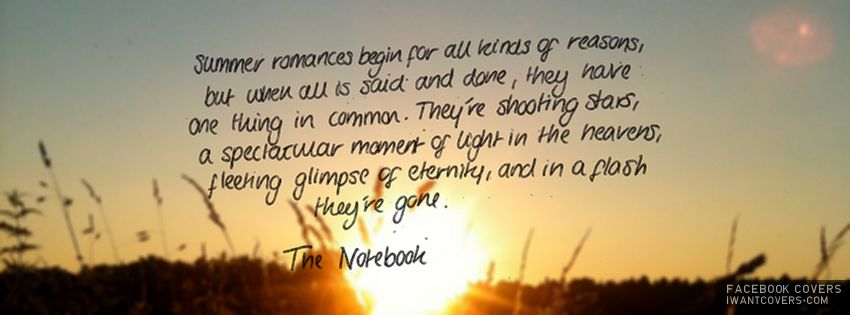 Inspiring Quote Facebook Cover - TrendyCovers.com |The Notebook Quotes Facebook Covers