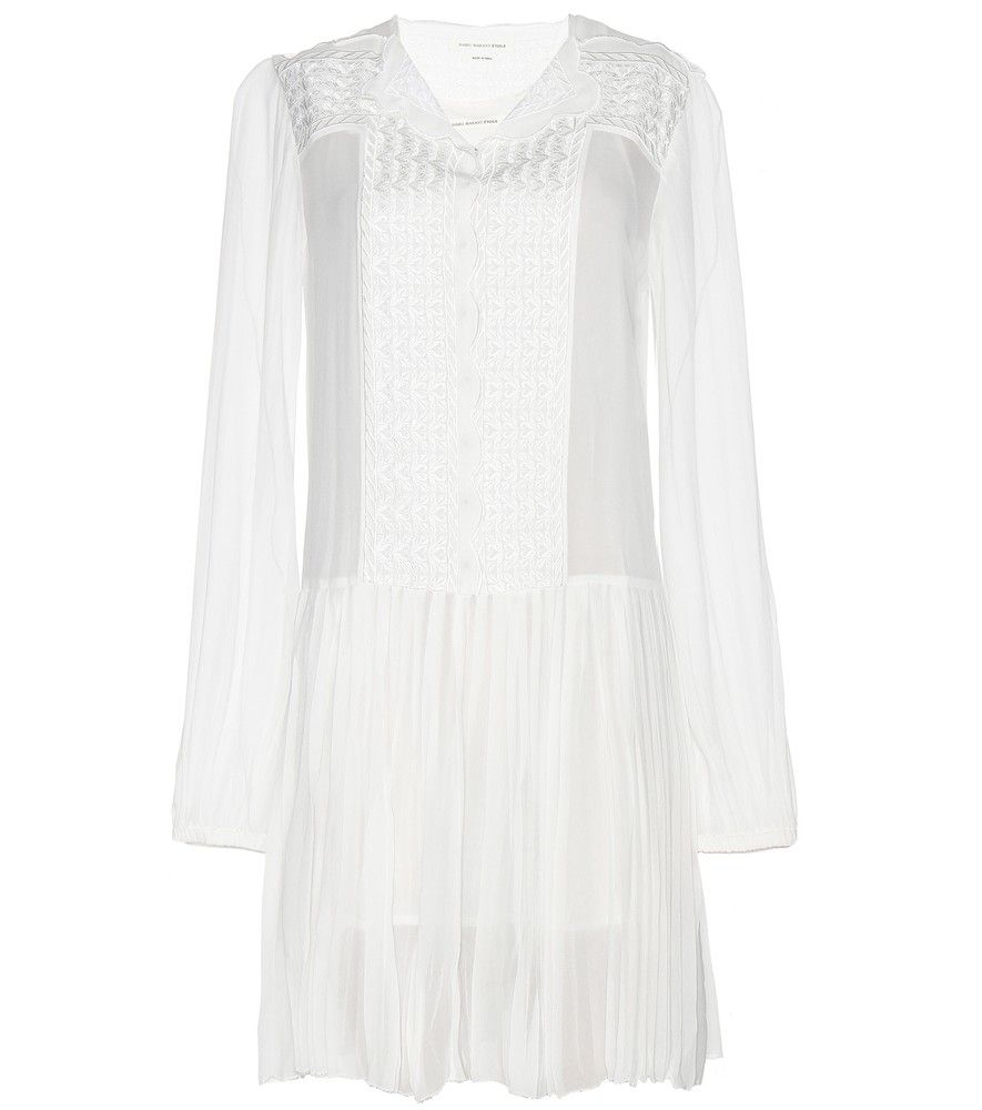 Isabel Marant, Étoile - Auxane embroidered mini dress - Isabel Marant, Étoile opts for boho innocence with this floaty white 'Auxane' dress. Intricate embroidery decorates layers of sheer fabric to create a look of pure femininity. Throw on a fur gilet and a chunky scarf when the cold weather sets in. seen @ www.mytheresa.com