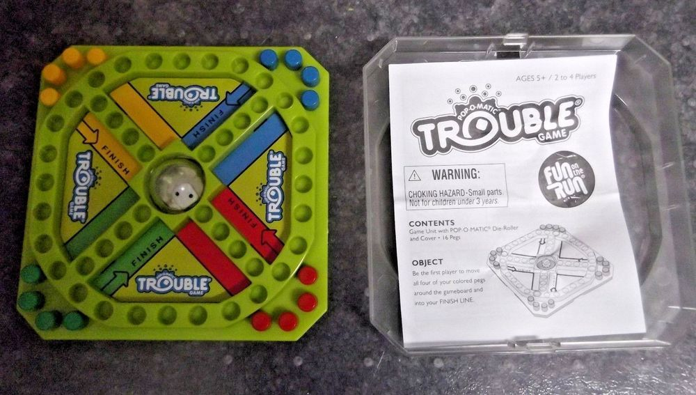 Trouble Popomatic Travel Game Hasbro 2005 Complete W Game Pieces