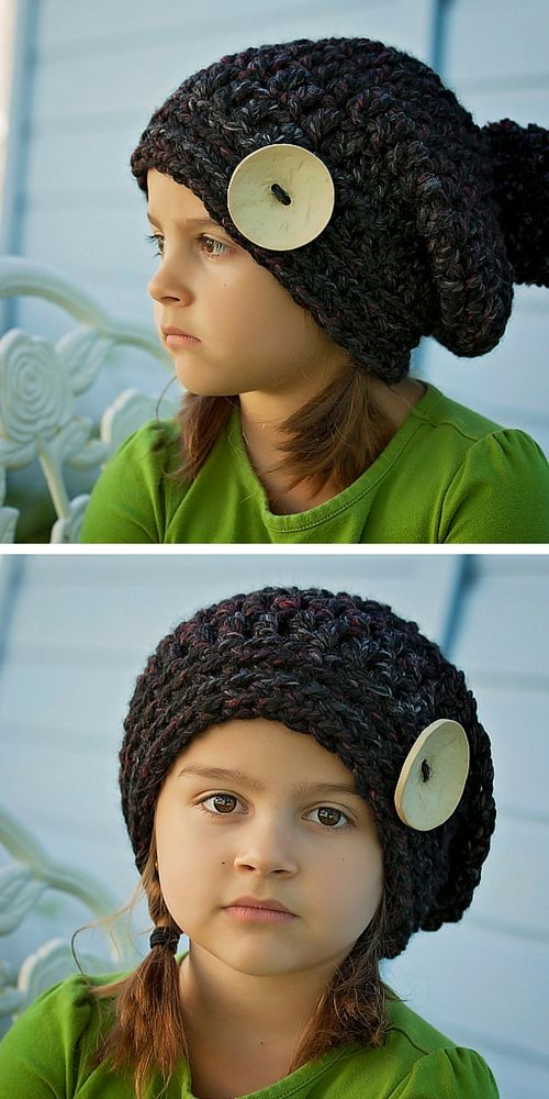 Crochet PATTERN - Chunky Crochet Slouchy Button Hat Pattern - Beret ...