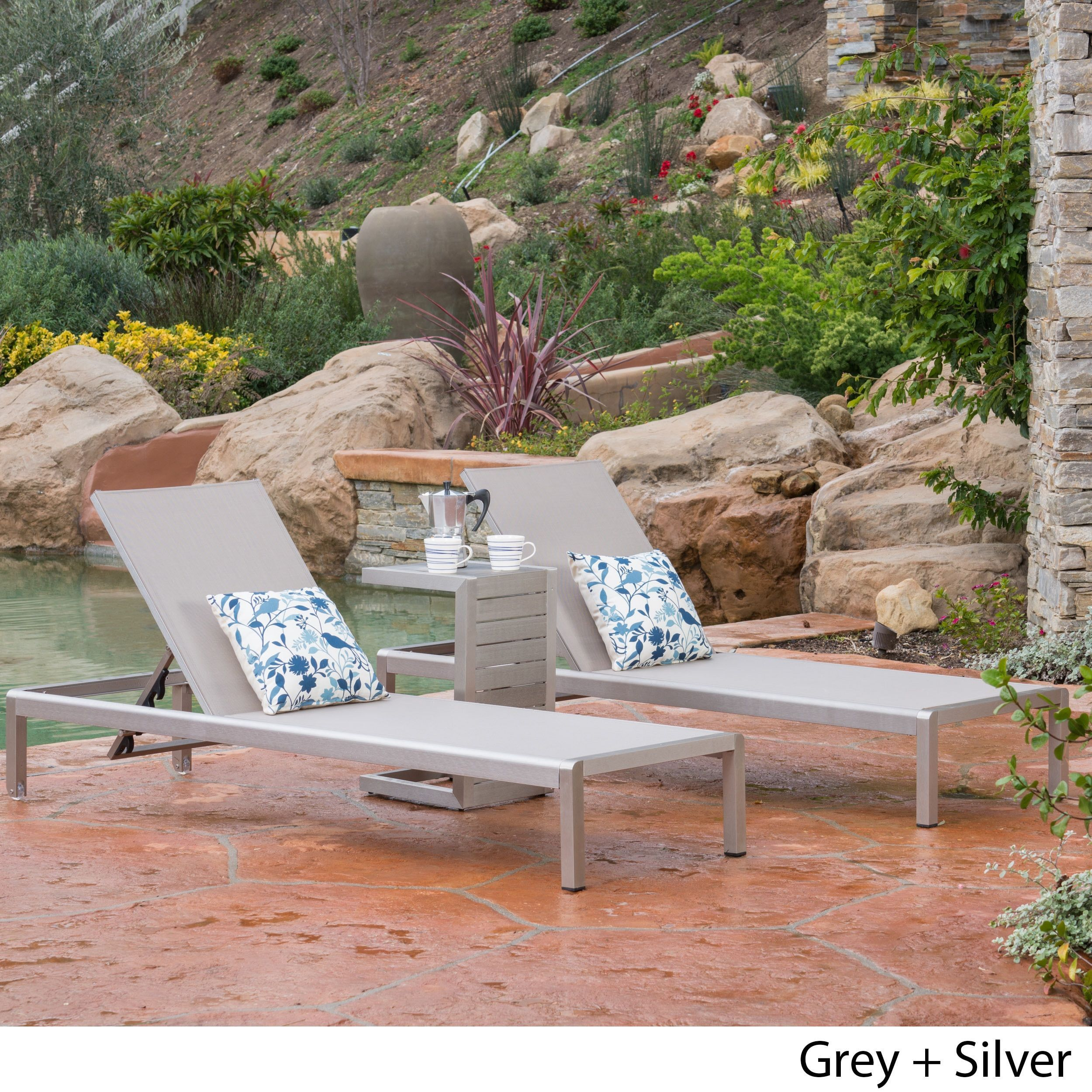 Cape C Mesh Chaise Lounge Set With Shaped End Table By Christopher Knight Home Wicker Grey Patio Furniture