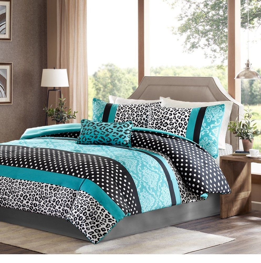 Black and blue bed sheets - Girls Bedding Set Kids Teen Comforter Turquoise Black White Leopard