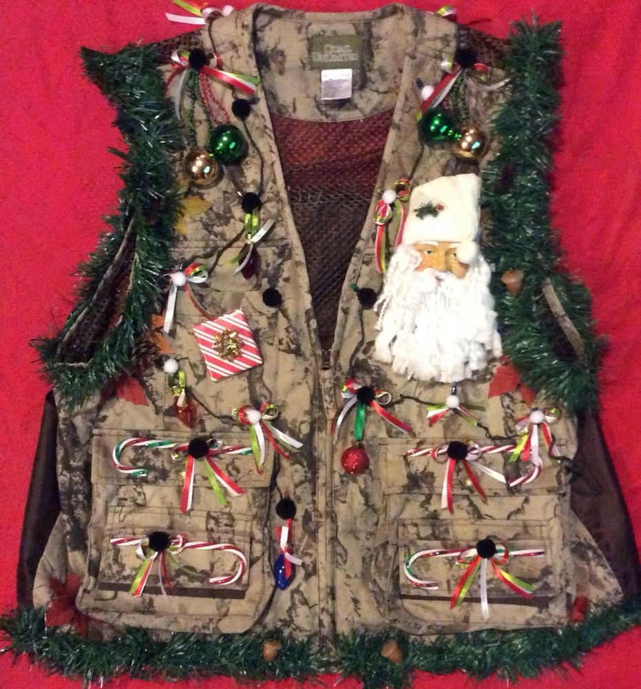 Ugly Christmas Sweater Mens XL Hunting Vest Camouflage Lighted ...