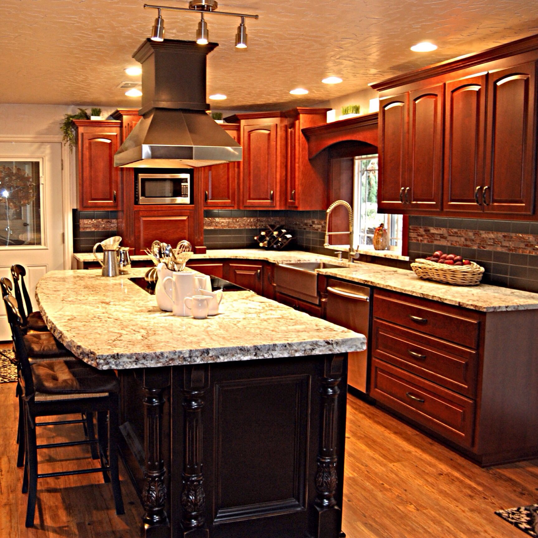 This is a great custom job with a custom stain on cherry wood. Thank you to Showcase Kitchens in Chehalis for beautiful custom cabinets, again! Have a question? Contact us at 3607480116, we are open from 9-5 Monday through Friday. Or find us online at interiordesigncenter.co or check us out on Facebook!