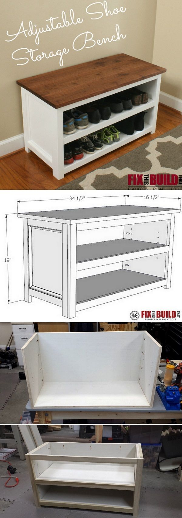 Check out how to build an adjustable DIY shoe storage bench ...