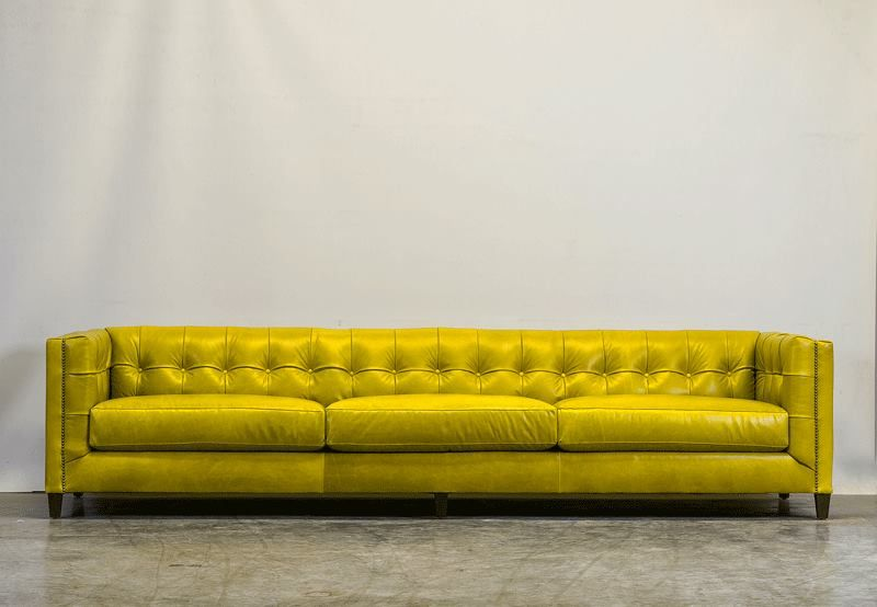 My New Custom Sofa Is 10 Feet Long In Citrine Italian Leather Love It Sofas For Small Spaces Sofa Mid Century Leather Sofa