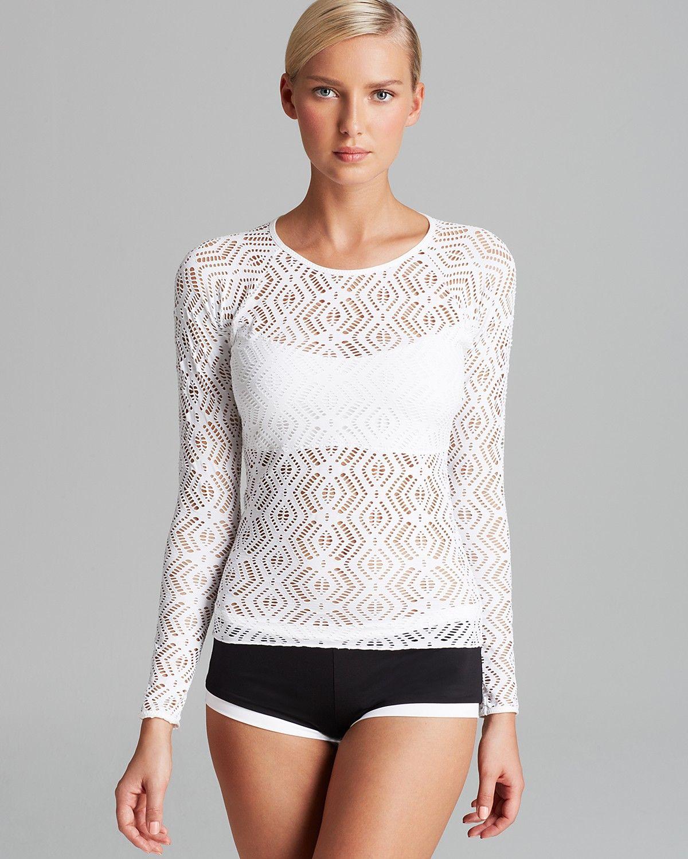 60d591f2999 BECCA® by Rebecca Virtue Just A Peak Crochet Rashguard Swim Top & Vanishing  Point Boyshort