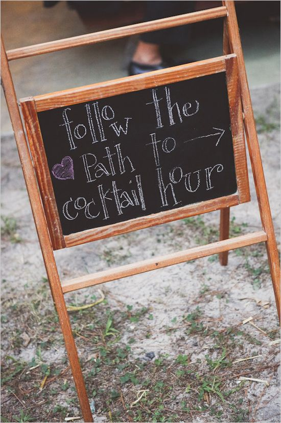 Follow the path to cocktail hour. Captured By: Sarah Murray Photography ---> http://www.weddingchicks.com/2014/05/13/quirky-budget-friendly-wedding/