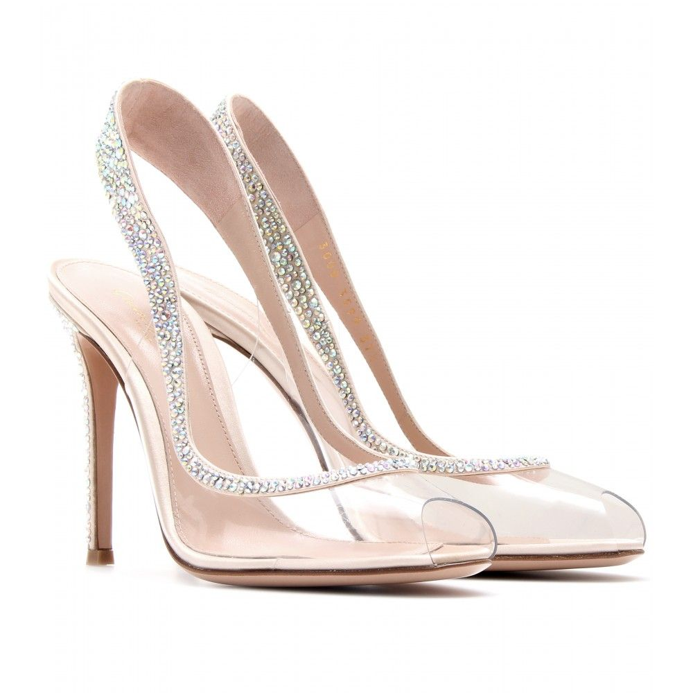 5fca8824ebd Gianvito Rossi Embellished Transparent Slingback Pumps in ...
